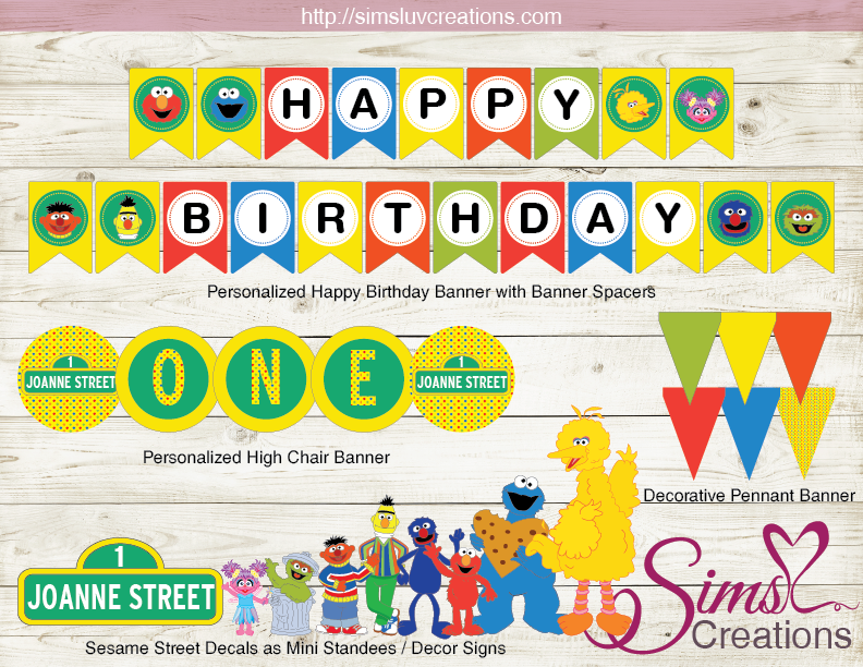 SESAME STREET PARTY PRINTABLE KIT  PARTY DECORATION SUPPLIES For Sesame Street Banner Template For Sesame Street Banner Template