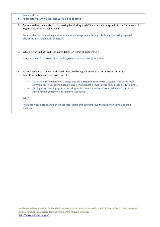 Session 11: Guidelines for rapporteurs and conveners For Rapporteur Report Template In Rapporteur Report Template