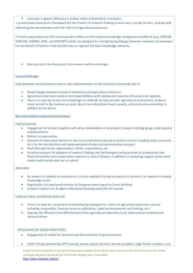Session 11: Guidelines for rapporteurs and conveners Regarding Rapporteur Report Template For Rapporteur Report Template