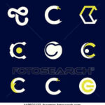 Set of letter logo design template elements collection of vector  Within Large Letter C Template