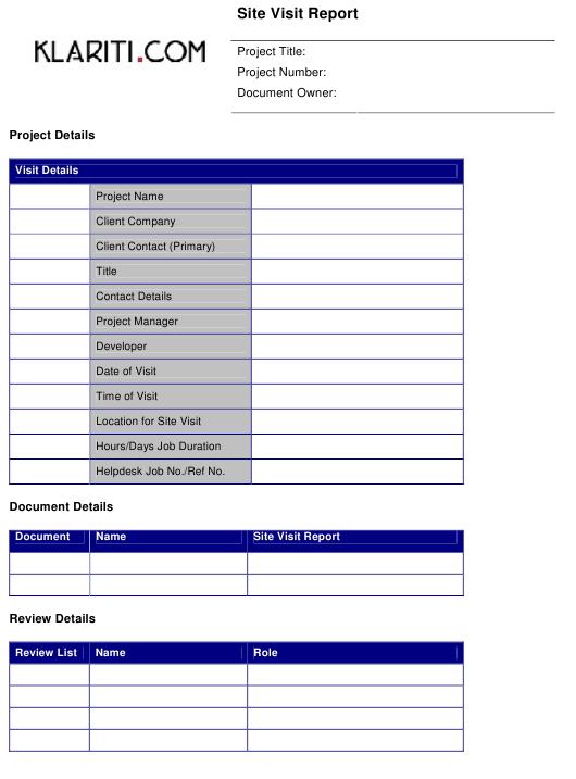 Site Visit Report Template - Klariti Download Printable PDF  With Regard To Site Visit Report Template Throughout Site Visit Report Template