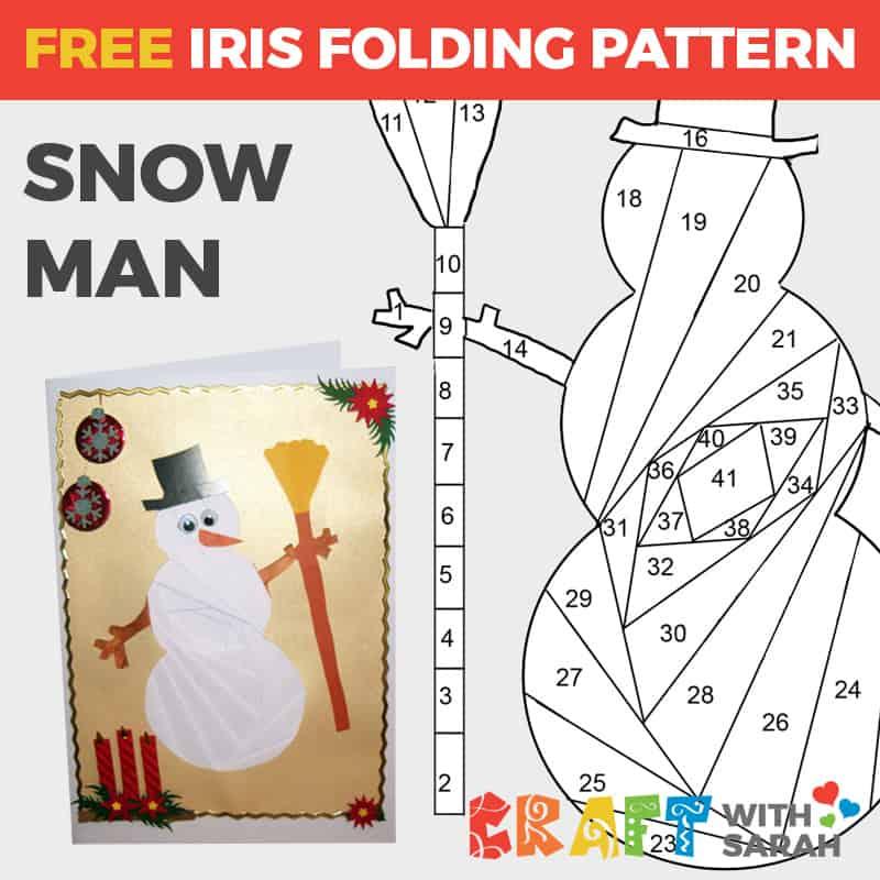 Snowman Iris Folding Pattern  Craft With Sarah Throughout Iris Folding Christmas Cards Templates In Iris Folding Christmas Cards Templates