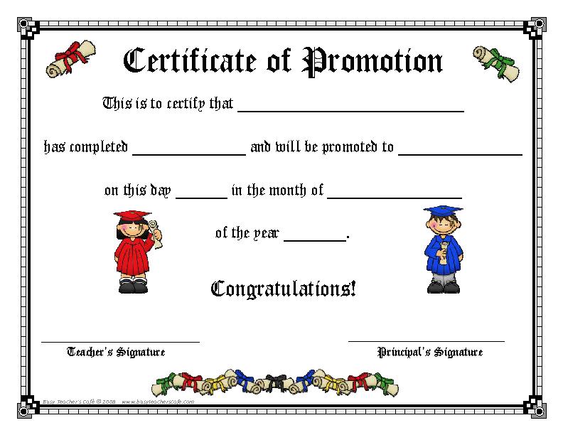 Standard Promotion Certificate Template - PDFSimpli In Promotion Certificate Template With Promotion Certificate Template