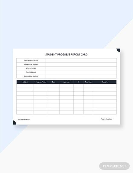 Student Progress Report Card Template - PDF  Word  Apple Pages  With Student Progress Report Template For Student Progress Report Template