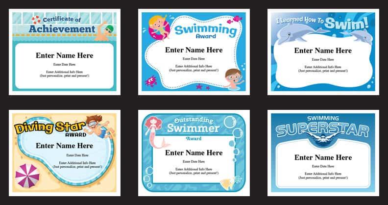 Swimming Certificates Templates  Swim Awards  Swimming Coach Pertaining To Free Swimming Certificate Templates Pertaining To Free Swimming Certificate Templates