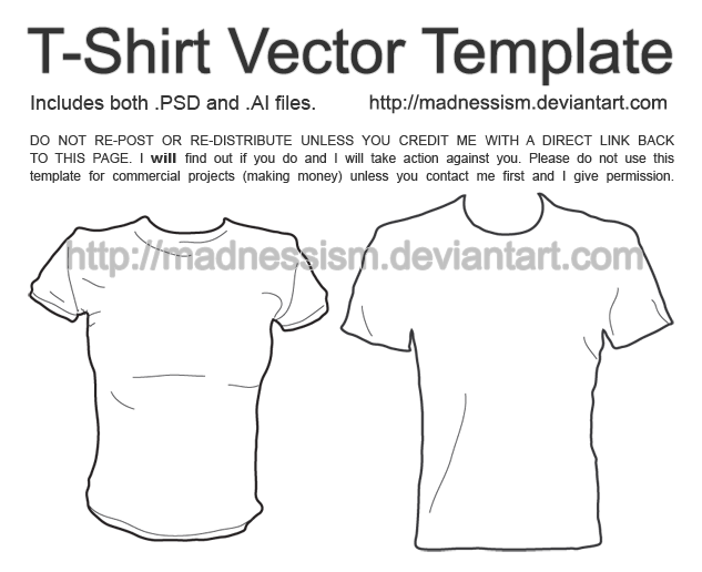 T-Shirt Vector Template by madnessism on DeviantArt With Blank Tshirt Template Pdf Regarding Blank Tshirt Template Pdf