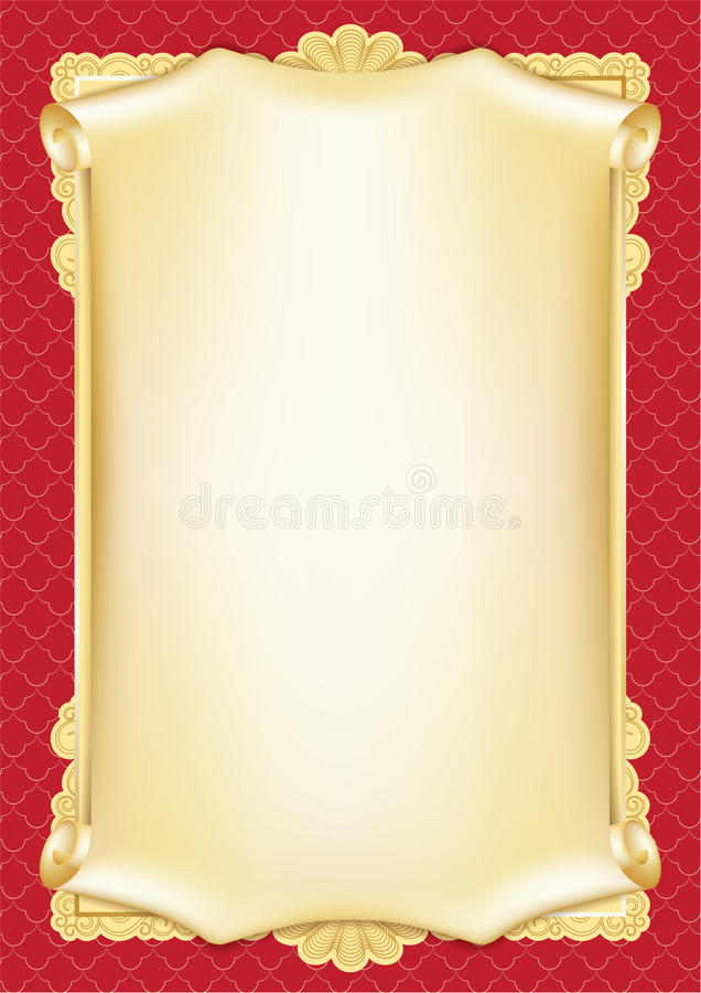 Template For Diploma, Certificate, Card With Scroll And Decorative  Pertaining To Certificate Scroll Template With Regard To Certificate Scroll Template