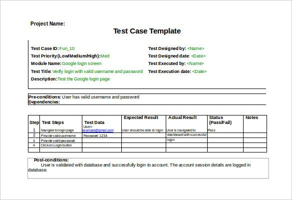 Test Case Template - 11+ Free Word, Excel, PDF Documents Download  With Regard To Test Template For Word For Test Template For Word