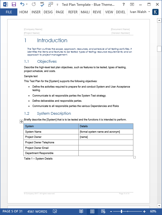 Test Plan Templates (MS Word/Excel) – Templates, Forms, Checklists  With Regard To Test Template For Word Pertaining To Test Template For Word