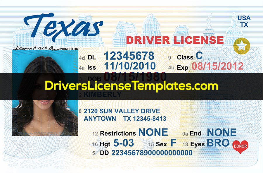 Texas Drivers License Editable Template PSD by  Regarding Blank Drivers License Template With Blank Drivers License Template