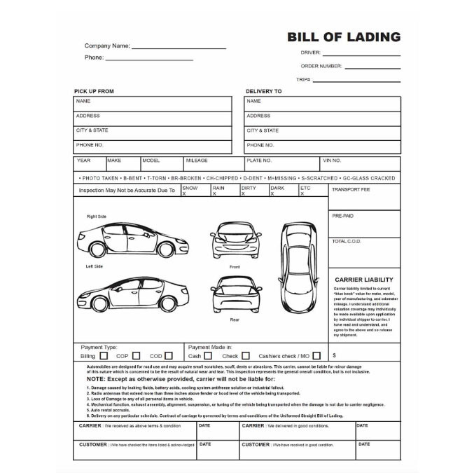 The Auto Transport Bill of Lading  National Express Pertaining To Truck Condition Report Template Inside Truck Condition Report Template