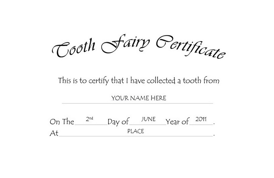 Tooth Fairy Certificate Free Templates Clip Art & Wording  With Regard To Tooth Fairy Certificate Template Free Inside Tooth Fairy Certificate Template Free