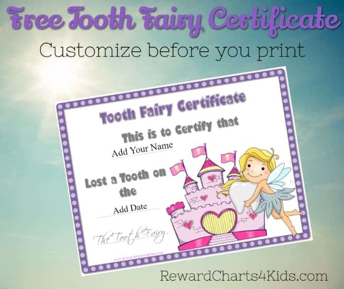 Tooth Fairy Certificate Intended For Tooth Fairy Certificate Template Free With Tooth Fairy Certificate Template Free