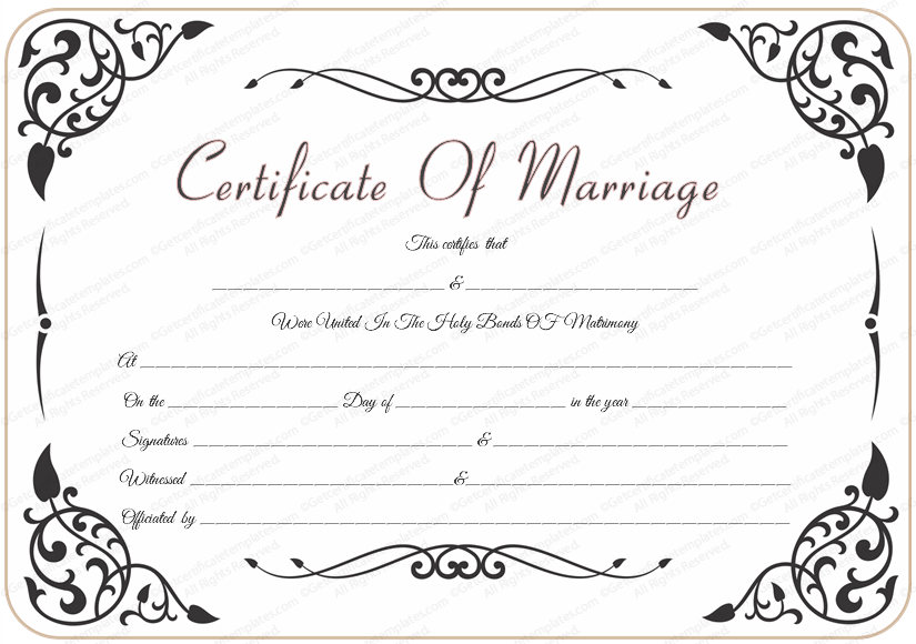 Traditional Wedding Certificate Template In Certificate Of Marriage Template In Certificate Of Marriage Template