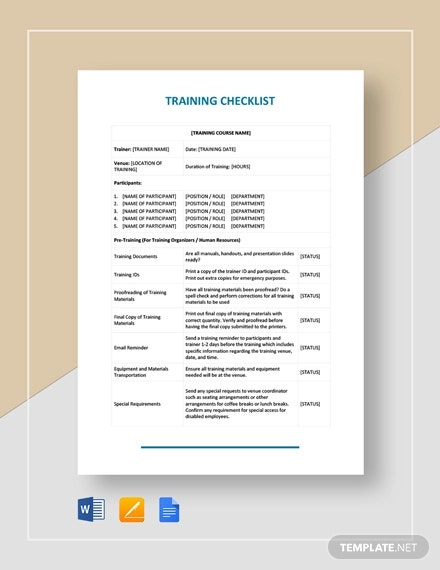 Training Checklist Template - 11+ Free Word, Excel, PDF Documents  Intended For Training Documentation Template Word Inside Training Documentation Template Word