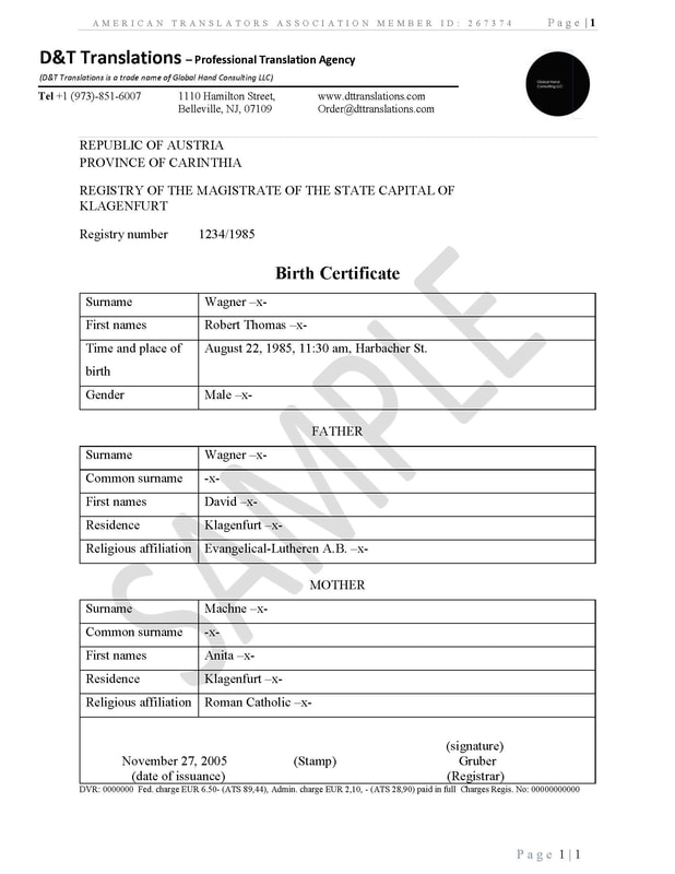 Translation samples - D&T TRANSLATIONS Inside Birth Certificate Translation Template English To Spanish In Birth Certificate Translation Template English To Spanish