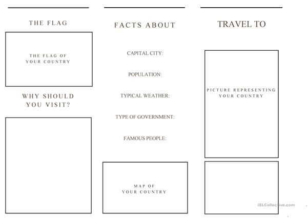 travel brochure template AND example brochure - English ESL  For Brochure Templates For School Project Regarding Brochure Templates For School Project