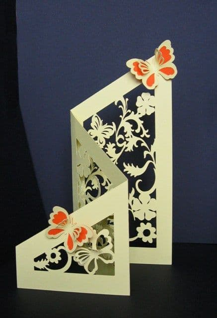 Tri-fold floral & butterfly cut-out card template For Fold Out Card Template