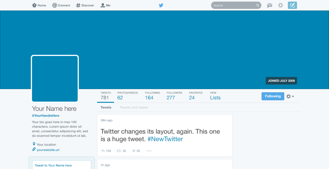 Twitter 11 Layout — Free PSD Template — GBX Studio — UX design  Within Blank Twitter Profile Template Throughout Blank Twitter Profile Template