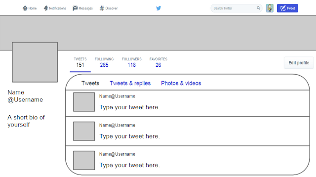 Twitter Template for Students!  CovaisTech Intended For Blank Twitter Profile Template Intended For Blank Twitter Profile Template