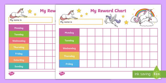 Unicorn Reward Charts Within Blank Reward Chart Template Within Blank Reward Chart Template