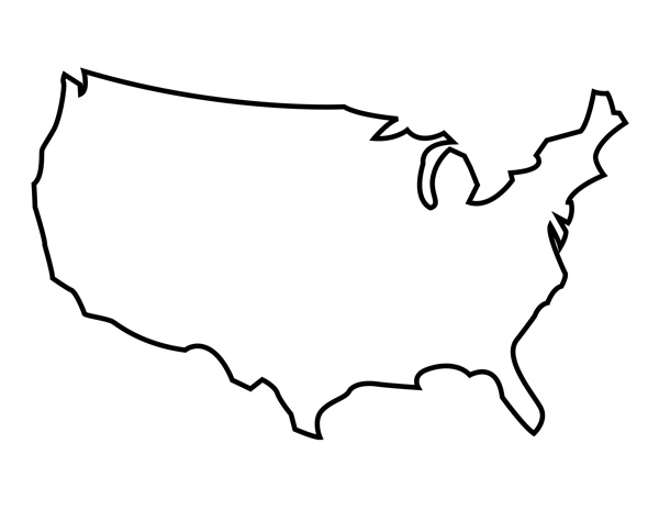 USA Blank Map  Blank America Map With Regard To Blank Template Of The United States With Regard To Blank Template Of The United States