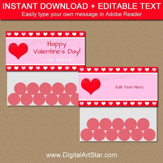 Valentine Bag Toppers - Valentine Bag Labels - Valentine Goodie  In Goodie Bag Label Template Intended For Goodie Bag Label Template
