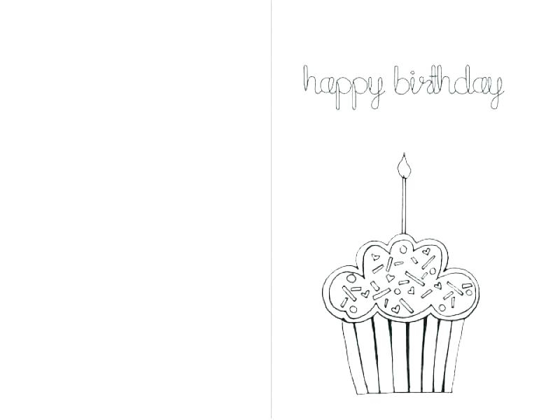 Valentine Card Design: Happy Birthday Card Template Black And White Pertaining To Foldable Birthday Card Template