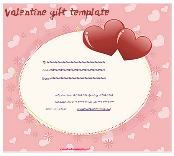 Valentine Gift Certificate Templates  Gift Certificate Templates Within Love Certificate Templates