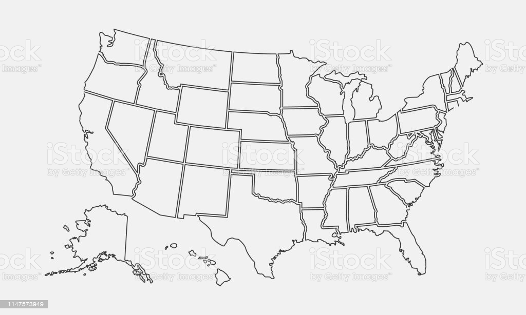 Vector illustration With United States Map Template Blank