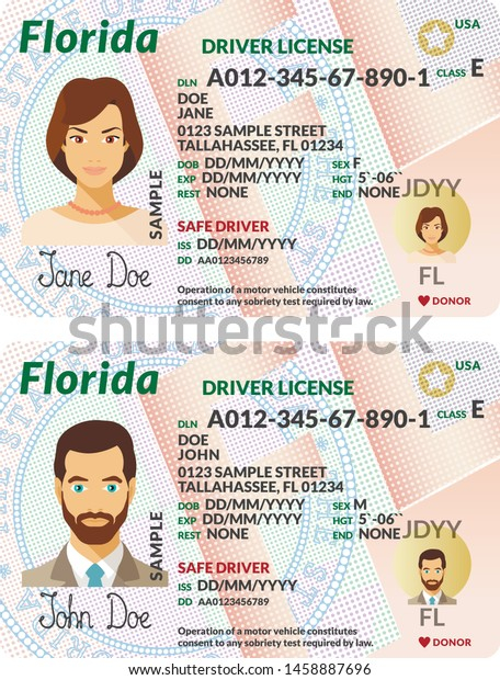Vector Template Sample Driver License Plastic Stock Vector  Pertaining To Florida Id Card Template Pertaining To Florida Id Card Template