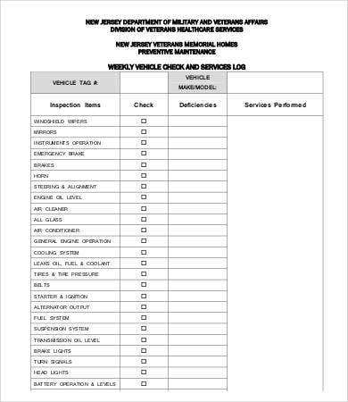 Vehicle Checklist Template - 11+ Word, PDF Documents Download  Throughout Vehicle Checklist Template Word Intended For Vehicle Checklist Template Word