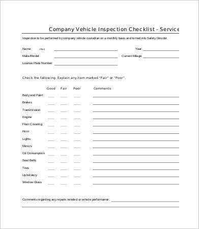 Vehicle Checklist Template - 11+ Word, PDF Documents Download  With Regard To Vehicle Checklist Template Word Regarding Vehicle Checklist Template Word