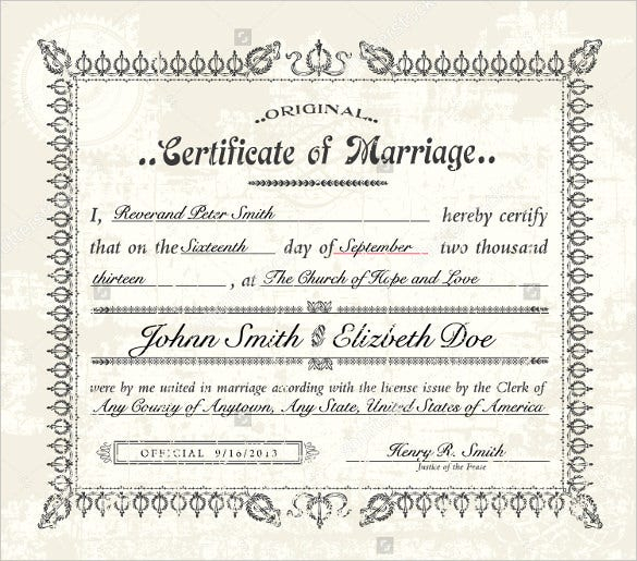 Wedding Certificate Template - 11+ Free PSD, AI, Vector, PDF  With Regard To Certificate Of Marriage Template