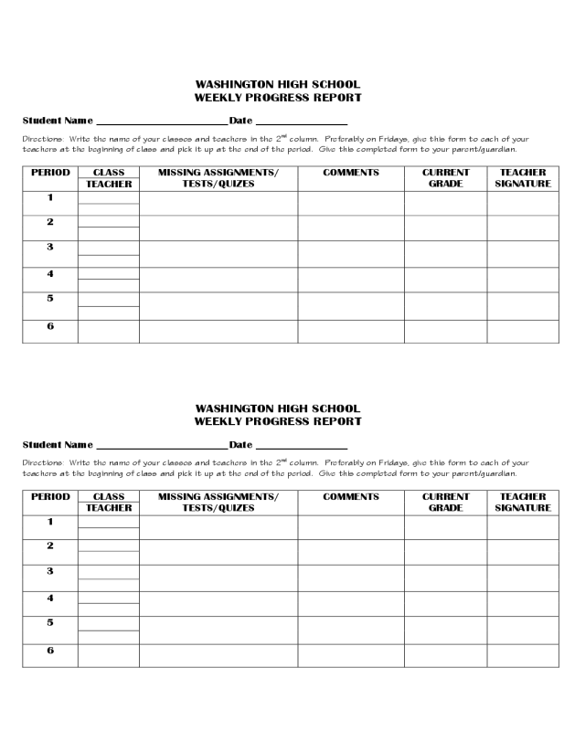 Weekly Progress Report - Washington High School - Edit, Fill, Sign  For High School Progress Report Template For High School Progress Report Template