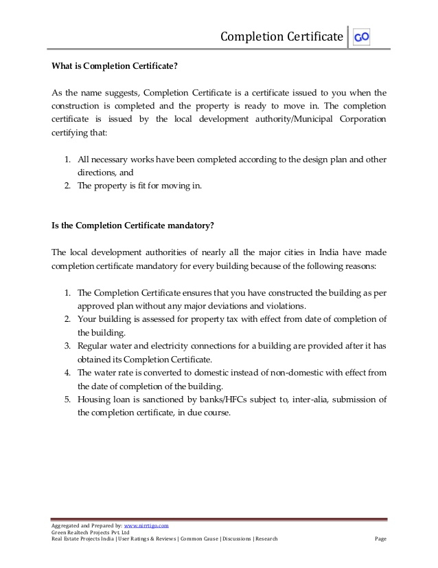 What is completion certificate and how to obtain it Pertaining To Certificate Of Completion Template Construction In Certificate Of Completion Template Construction