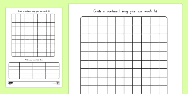 Word Search Template (teacher made) Within Blank Word Search Template Free Regarding Blank Word Search Template Free