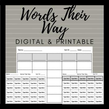 Words Their Way Blank Word Sort Template EDITABLE Digital & Printable With Regard To Words Their Way Blank Sort Template Inside Words Their Way Blank Sort Template
