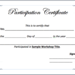 Workshop Participation Certificate Template - Word Templates for  Intended For Participation Certificate Templates Free Download